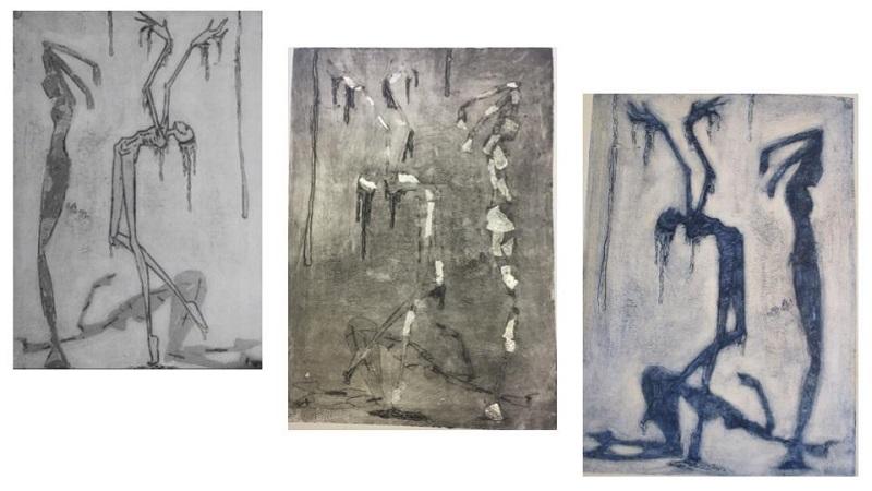 'The Moirai' Collagraph intaglio prints and board. 40cm x 30cm